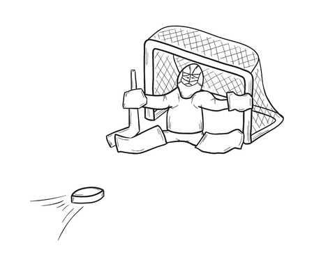 sketch of the goalkeeper in gate and puck on white background, isolated Vector