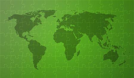 world map with continents on green background covered by puzzle pieces Vector