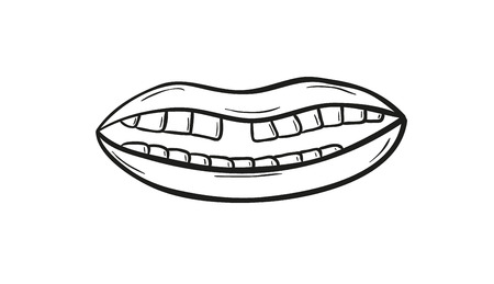 sketch of the mouth without one teeth on white background, isolated Vector
