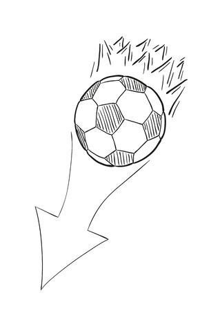 sketch of the flying football ball with flames behind and arrow on white background, isolated Vector