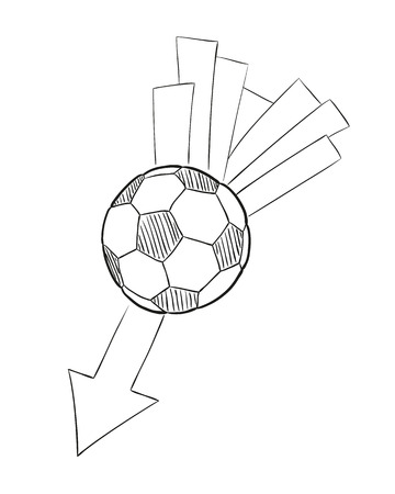 sketch of the flying football ball with arrow on white background, isolated Vector