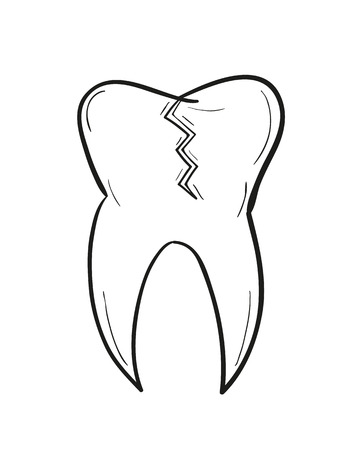 defect: sketch of the tooth with defect on white background, isolated