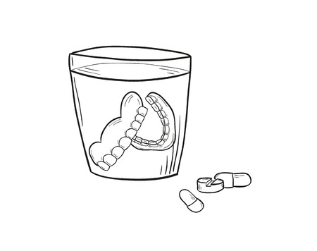 fake smile: sketch of the denture in glass and pills on white background, isolated