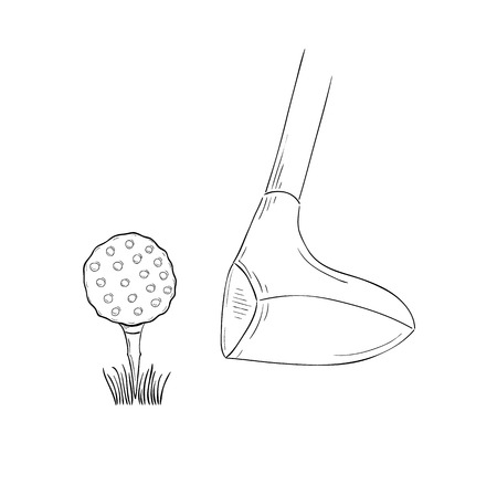Sketch Of The Golf Ball And Golf Club On White Background, Isolated on