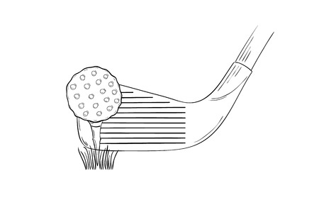 sketch of the golf ball and golf club on white background, isolated Vector