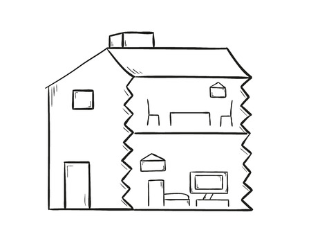 sketch of the house on white background, isolated Vector