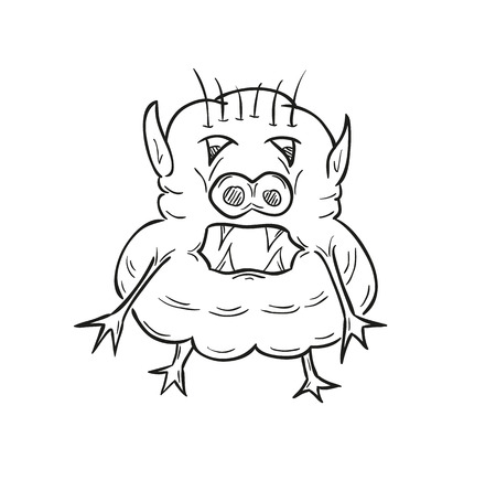 germ free: sketch of the ugly creature on white background, isolated