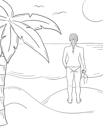 sunny beach: sketch of the girl in swimsuit with upper part of the swimsuit in the hand on the sunny beach Illustration
