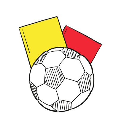 sketch of the football ball and two cards on white background, isolated Vector