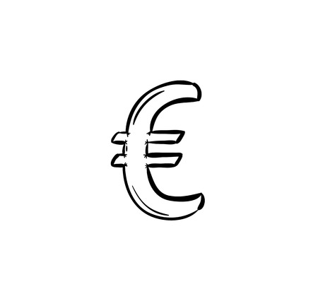 sketch of currency in europe - euro, isolated Vector