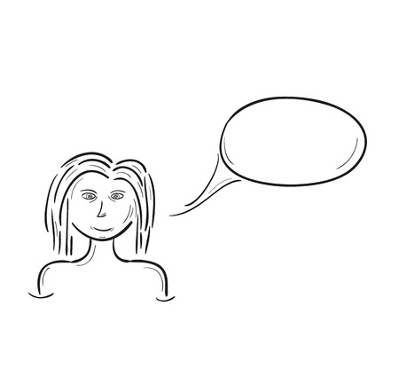 simple sketch of the girl and speak bubble, isolated Vector