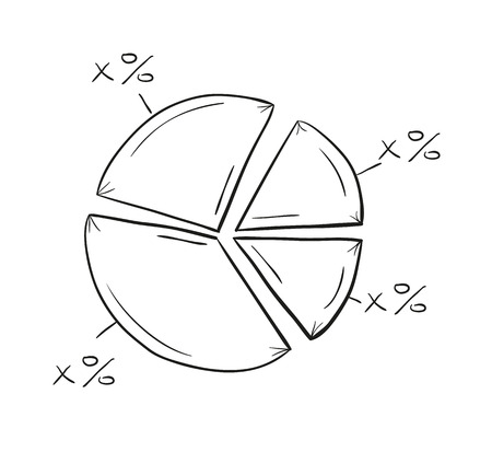 sketch of the pie chart on white background, isolated Vector