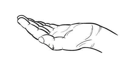 sketch of the empty human hand, isolated Vector