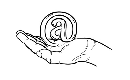 arroba: sketch of the e-mail sign in hand, isolated