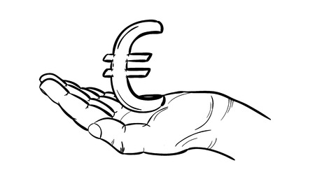 sketch of currency in europe in hand - euro, isolated Vector