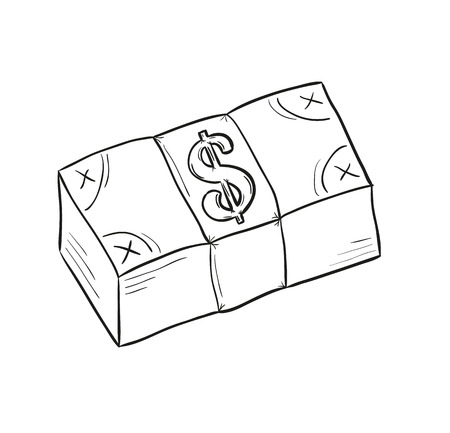 sketch of money pack with dollar symbol, isolated