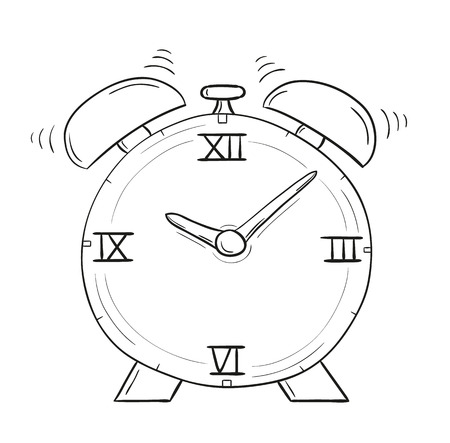 sketch of the alarm clock on white background, isolated Vector