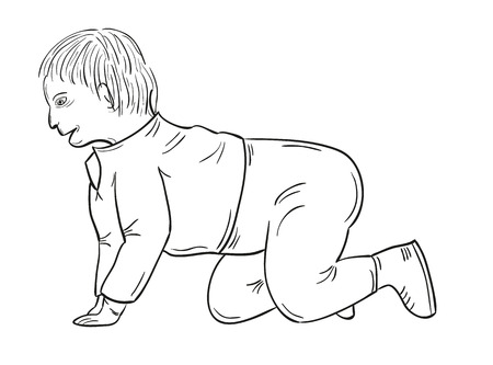 sketch of the toddler on white background, isolated Vector