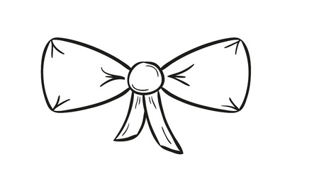 sketch of the elegant bow on white background, isolated Vector