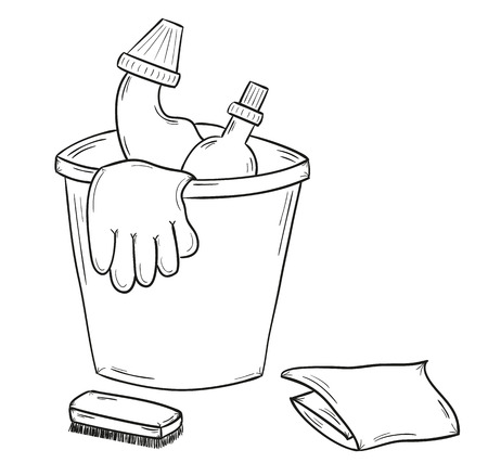 disinfect: sketch of the cleaners, gloves, cloth on white background