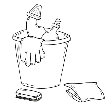 Skizze der Reinigungsmittel, Handschuhe, Tuch auf weißem Hintergrund