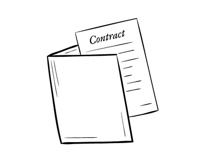 sketch of the folder with contract paper on white background, isolated