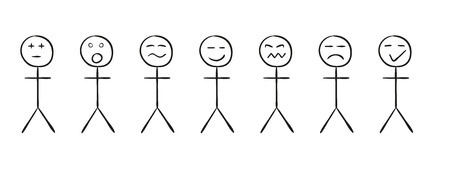 sketch of the simple persons with different emotions on white background, isolated Vector