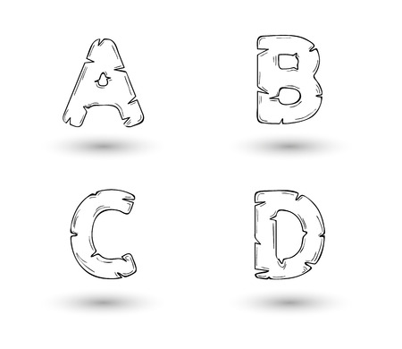 sketch jagged alphabet letters with shadow on white background, A, B, C, D Vector