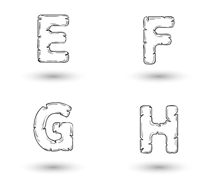 sketch jagged alphabet letters with shadow on white background, E, F, G, H Vector