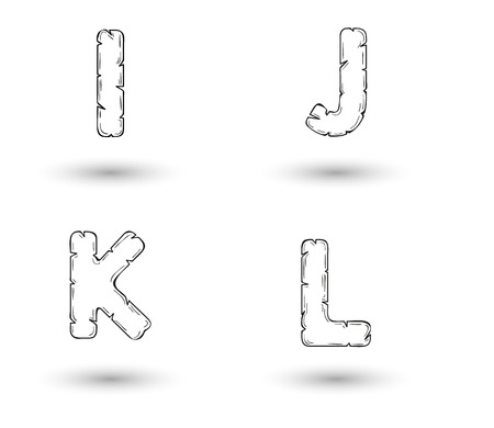 jagged: sketch jagged alphabet letters with shadow on white background, I, J, K, L