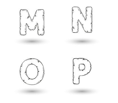 sketch jagged alphabet letters with shadow on white background, M, N, O, P Vector