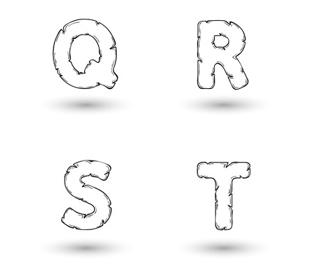 sketch jagged alphabet letters with shadow on white background, Q, R, S, T Vector