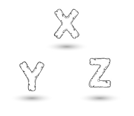 sketch jagged alphabet letters with shadow on white  X, Y, Z Vector