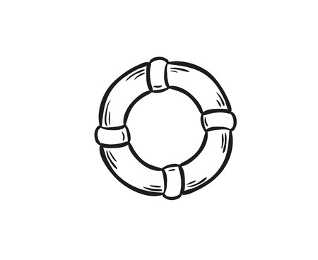 sketch of the life buoy on white isolated Vector