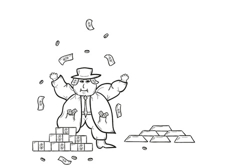 rich man with money and gold bricks and throwing money on white Vector