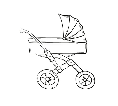 sketch of stroller for small baby on white