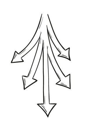 different ways: sketch of the five arrows as a symbol of the five different ways and options Illustration