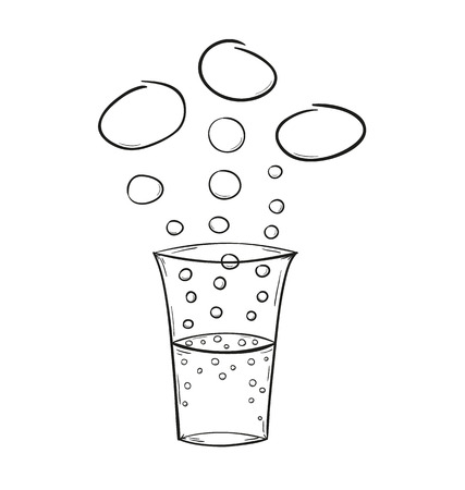 sketch of the drink and bubbles, isolated Vector