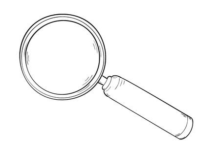 schets van de elegante vergrootglas, geïsoleerde