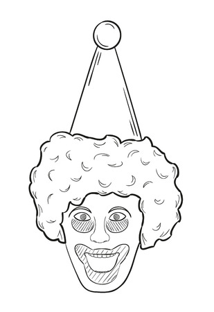 black wigs: sketch of the clown head on white background, isolated