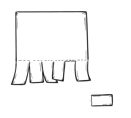 sketch of the blank paper and detached one piece, isolated Vector