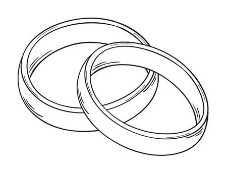 격리 된 사랑의 상징으로 두 개의 링의 스케치 일러스트