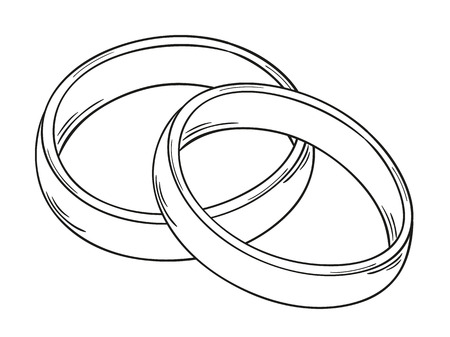 rings: sketch of the two rings as a symbol of love, isolated