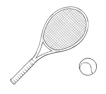 tennis racket: bosquejo de la raqueta de tenis y pelota, aislado