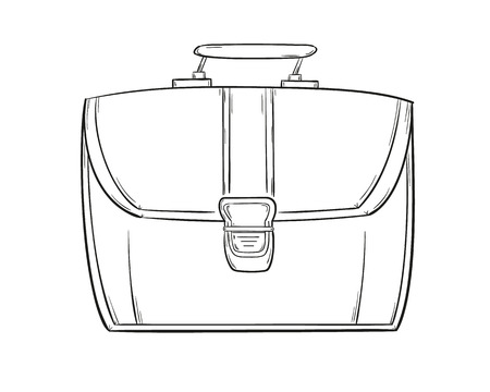 sketch of the briefcase on the white background, isolated Vector