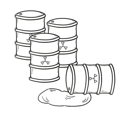barrel radioactive waste: sketch of the barrels with dangerous fluid, isolated Illustration