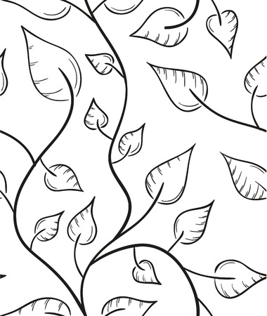 seamless pattern of the leaves sketch on white background Vector