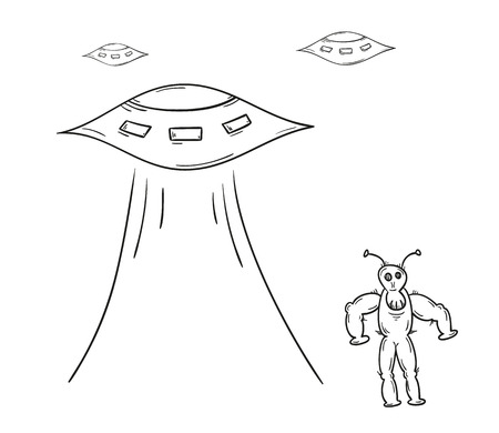 sketch of the alien and spaceships on white background, isolated Vector