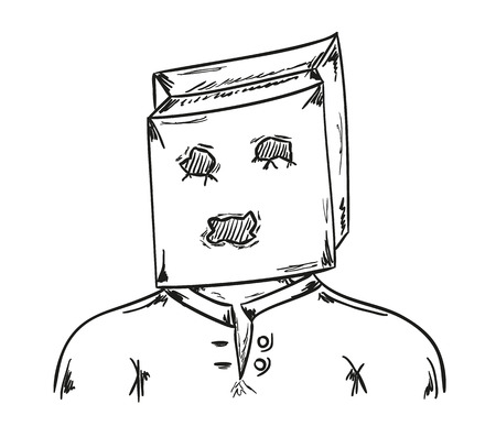 sketch of the man with paper bag on his head Vector