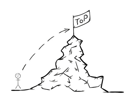 sketch of the rising to the top, man with the rock and flag Vector
